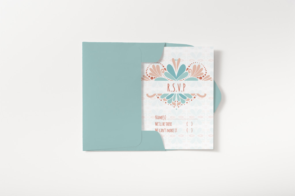 Pattern Wedding invite rsvp